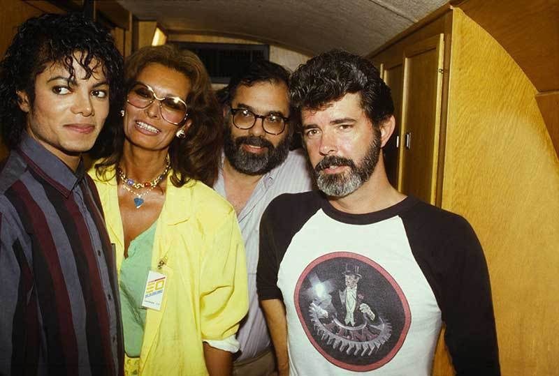 Michael-Jackson-Sophia-Loren-Francis-Ford-Coppola-and-George-Lucas-during-the-filming-of-Captain-EO